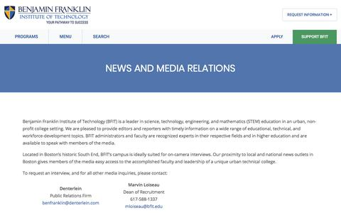 Screenshot of Press Page bfit.edu - News and Media Relations - Benjamin Franklin Institute of Technology - captured Nov. 27, 2019