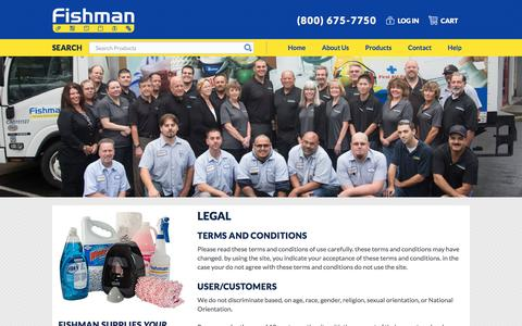 Screenshot of Terms Page fishmansupply.com - Legal | Fishman Supply - captured Oct. 13, 2017
