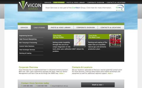 Screenshot of Case Studies Page vicon.net.au - Case Studies | Vicon Services - captured Oct. 7, 2014