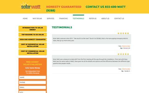 Screenshot of Testimonials Page solarwattsolutions.com - San Diego, Orange County, Riverside Solar Watt Testimonials - captured Dec. 11, 2016