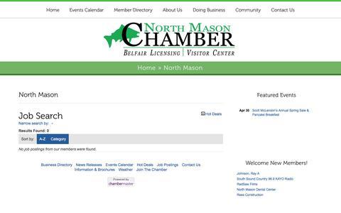 Screenshot of Jobs Page northmasonchamber.com - Job Search - North Mason | North Mason Chamber - captured Feb. 15, 2016