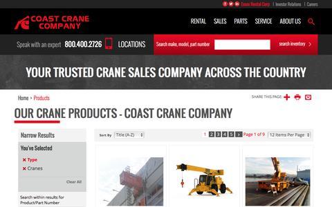 Screenshot of Products Page coastcrane.com - Our Crane Products - Coast Crane Company - captured Nov. 8, 2016