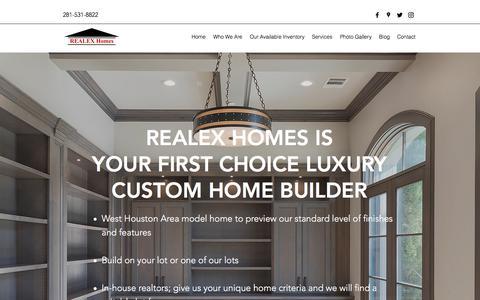 Screenshot of Services Page realex-homes.com - Services | Realex Homes - captured Sept. 21, 2018