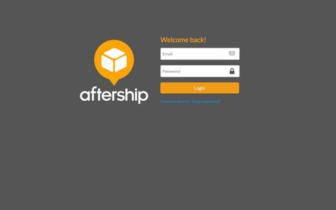 Screenshot of Login Page aftership.com - Login - captured Sept. 12, 2014