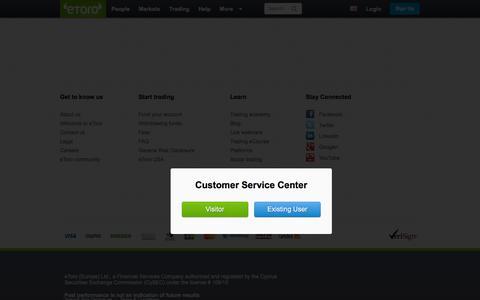 Screenshot of Support Page etoro.com - Customer Service Center| eToro - captured Nov. 10, 2015