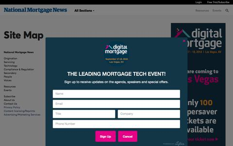 Screenshot of Site Map Page nationalmortgagenews.com - NMN - Site Map  | National Mortgage News - captured Feb. 6, 2018