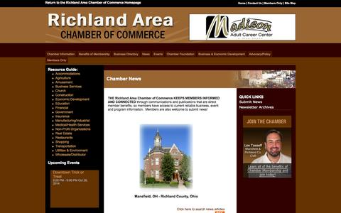 Screenshot of Press Page mrachamber.com - News - Mansfield-Richland Area Chamber of Commerce - captured Oct. 26, 2014