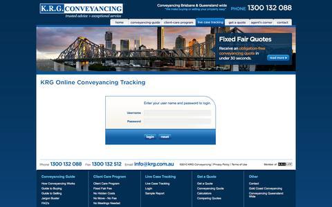 Screenshot of Login Page krg.com.au - KRG Conveyancing Brisbane | Queensland Conveyancing Solicitors - captured Feb. 12, 2016