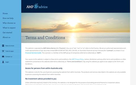 Screenshot of Terms Page amp.com.au - Terms and conditions - captured Oct. 24, 2018