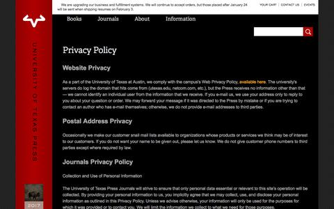 Screenshot of Privacy Page utexas.edu - Privacy Policy | The University of Texas Press - captured Jan. 20, 2017