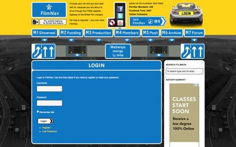 Screenshot of Login Page filmnav.co.uk - FilmNav – The website highway for British film-makers | FilmNav - captured Nov. 5, 2014