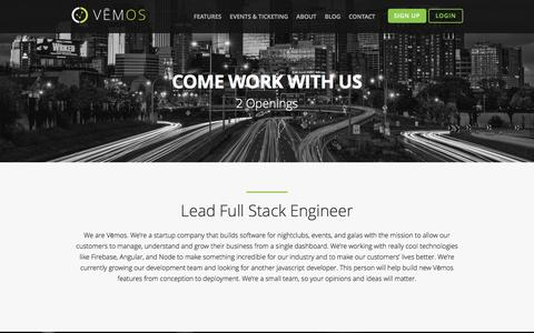 Screenshot of Jobs Page vemos.io - Developer Job Opportunities | Vemos - captured Nov. 23, 2016