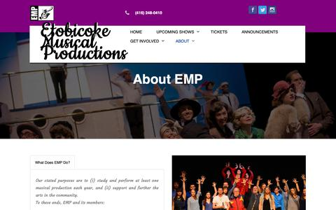 Screenshot of About Page e-m-p.ca - About – Etobicoke Musical Productions - captured Nov. 11, 2018