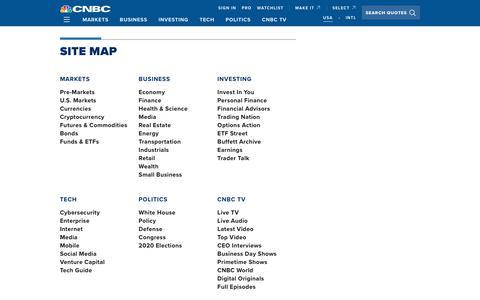 Screenshot of Site Map Page cnbc.com - Site Map - CNBC.com - captured Oct. 16, 2019