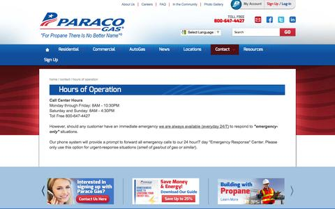 Screenshot of Hours Page paracogas.com - Hours of Operation - captured Oct. 10, 2014