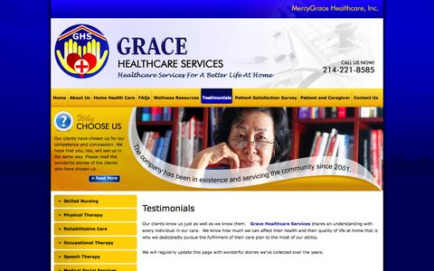 Screenshot of Testimonials Page mercyghc.com - Grace Healthcare Services - Home Health Services in Dallas, Texas 75238 - Testimonials - captured Oct. 27, 2014