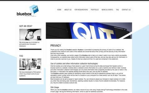 Screenshot of Privacy Page qutbluebox.com.au - Privacy Policy | bluebox - Innovations for the Real World - captured Sept. 30, 2014