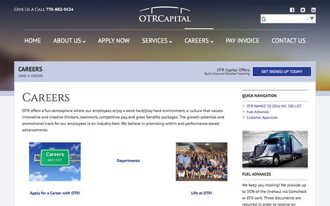 Screenshot of Jobs Page otrcapital.com - Careers - OTR Capital - captured Nov. 11, 2017