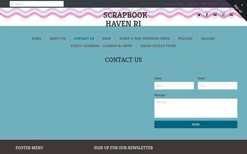 Screenshot of Contact Page scrapbookhavenri.com - CONTACT US - Scrapbook Haven RI - captured July 9, 2018