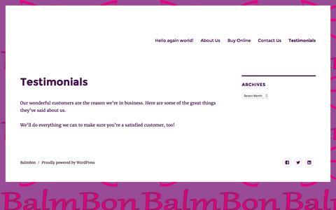 Screenshot of Testimonials Page balmbon.com - Testimonials – BalmBon - captured July 28, 2016