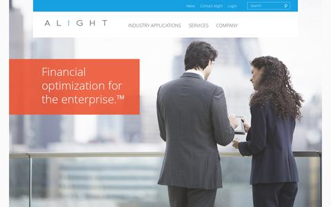 Screenshot of Home Page alightinc.com - Financial Optimization Applications for the Enterprise: Alight Inc. - captured Feb. 5, 2016