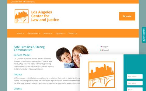 Screenshot of Services Page laclj.org - Services | Los Angeles Center for Law and Justice - captured Sept. 9, 2017