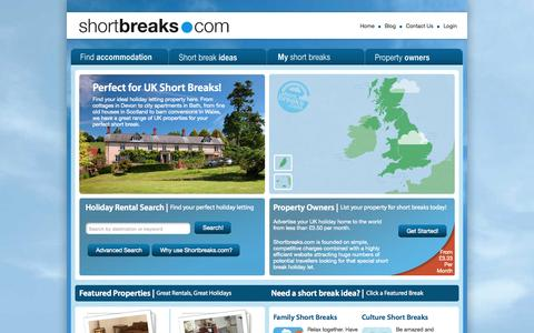 Screenshot of Home Page shortbreaks.com - Shortbreaks.com - Short Breaks Holiday Accommodation, Weekend Breaks Ideas, List Your Short Breaks Property. - captured Sept. 24, 2015