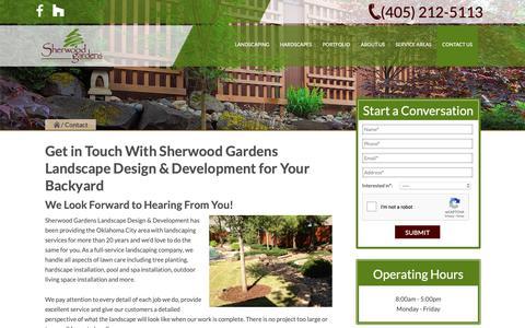 Screenshot of Contact Page sherwoodgardens.com - Contact Us | Sherwood Gardens Landscape Design & Development - captured Nov. 7, 2018