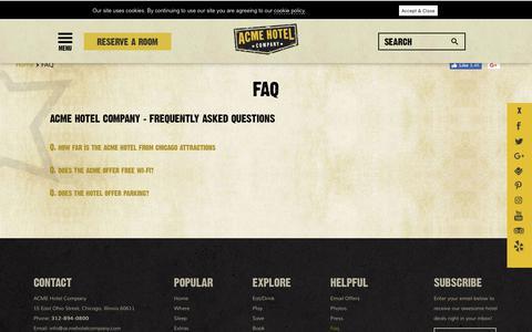Screenshot of FAQ Page acmehotelcompany.com - FAQ - captured Sept. 29, 2018