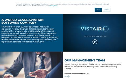 Screenshot of About Page vistair.com - A World Class Aviation Software Company - captured Oct. 18, 2018