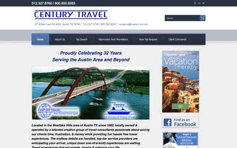Screenshot of Home Page Privacy Page Terms Page centurytravelaustin.com - Century Travel - Home - captured Oct. 2, 2014