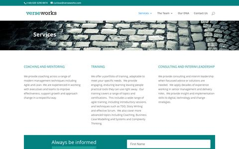Screenshot of Services Page verseworks.com - Services | verseworks - captured May 24, 2016