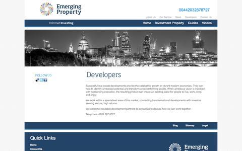 Screenshot of Developers Page emergingproperty.co.uk - Developers for Emerging Property - captured Oct. 30, 2014