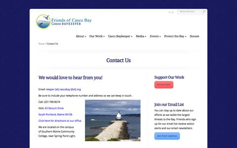 Screenshot of Contact Page cascobay.org - Contact Us | Friends of Casco Bay - captured Oct. 6, 2014