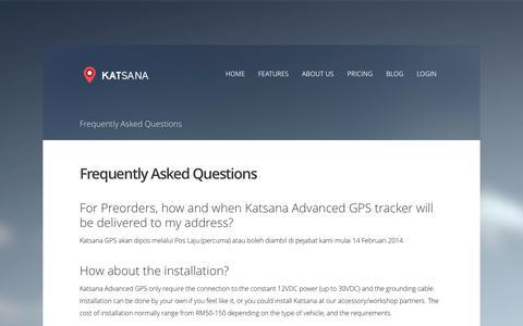 Screenshot of FAQ Page katsana.com - Frequently Asked Questions - Katsana GPS Tracking System Malaysia - captured Sept. 17, 2014
