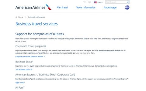 Business travel services − Programs and products − American Airlines