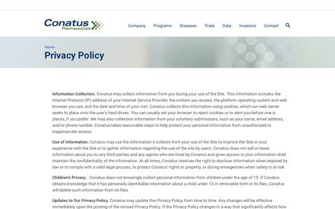 Screenshot of Privacy Page conatuspharma.com - Privacy Policy | Conatus Pharmaceuticals - captured Nov. 1, 2017