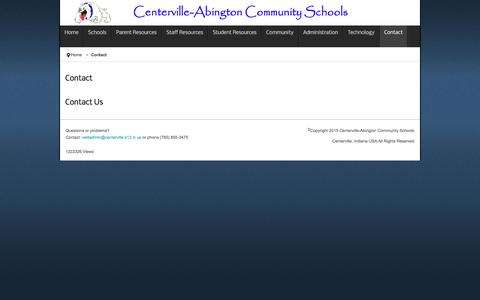 Screenshot of Contact Page centerville.k12.in.us - Welcome to Centerville-Abington Community Schools - Contact - captured April 26, 2017