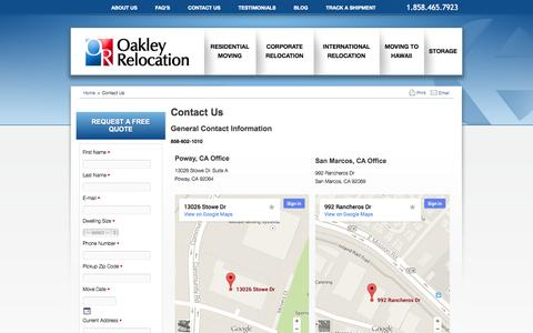 Screenshot of Contact Page Maps & Directions Page oakleyrelocation.com - Contact Us - Oakley Relocation   Oakley Relocation Design - captured Oct. 26, 2014