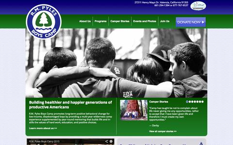 Screenshot of Home Page pylescamp.com - R.M. Pyles Boys Camp | R. M. Pyles Boys Camp is dedicated to the task of building healthier and happier generations of productive Americans firmly endowed with the ideals and principles of our freedom loving country. - captured Oct. 6, 2014