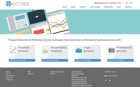 Screenshot of Case Studies Page octree.co.uk - Case Studies - captured Oct. 27, 2014