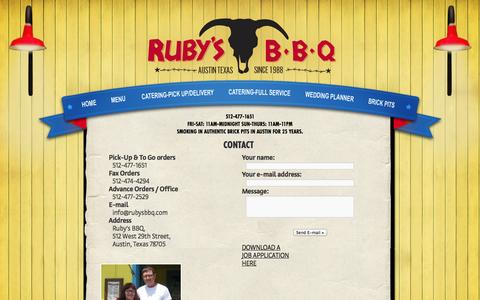 Screenshot of Contact Page rubysbbq.com - Contact | Ruby's BBQ on Guadalupe - captured Oct. 9, 2014