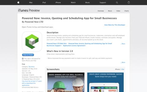 Screenshot of Trial Page apple.com - Powered Now: Invoice, Quoting and Scheduling App for Small Businesses on the App Store - captured May 18, 2016