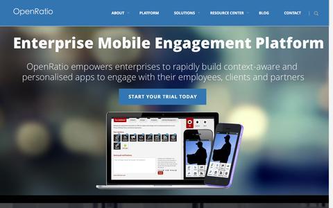 Screenshot of Home Page openratio.com - OpenRatio - Enterprise Mobile Engagement Platform - BYOD | Enterprise mobile platform. MBaaS � MPaaS � BYOD - captured Jan. 10, 2016