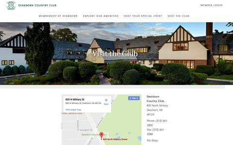 Screenshot of Contact Page Maps & Directions Page dearborncountryclub.net - Visit the Club - Dearborn Country Club - captured Aug. 1, 2016