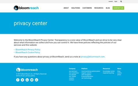 Screenshot of Privacy Page bloomreach.com - Privacy Center - BloomReach - captured Dec. 4, 2015
