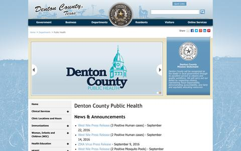 Screenshot of Locations Page dentoncounty.com - Denton County Public Health - Denton County, Texas - captured Sept. 25, 2016