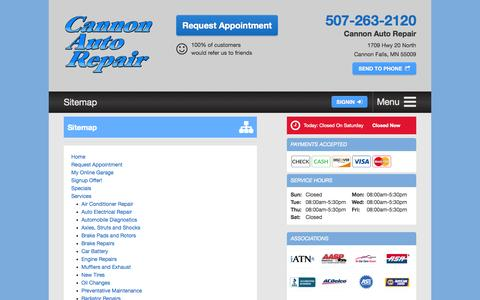 Screenshot of Site Map Page cannonautorepair.com - Cannon Auto Repair - Sitemap - captured July 18, 2015