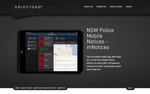 Screenshot of Case Studies Page gridstone.com.au - NSW Police Mobile Notices - mNotices - Gridstone - captured Sept. 27, 2014
