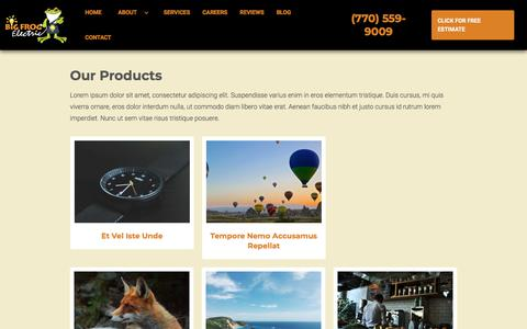 Screenshot of Products Page bigfrogelectric.com - Products - captured Aug. 2, 2018
